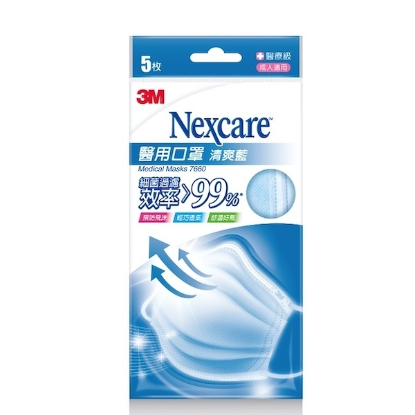 3M醫用口罩清爽藍5片包裝 【康是美】