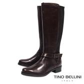 Tino Bellini歐洲進口英氣拼接彈力布平底長靴_ 咖 A69028 歐洲進口款