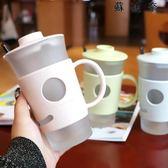 小麥秸稈玻璃杯帶蓋帶小勺喝水水杯 SDN-3613