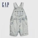 Gap 嬰兒 做舊風格水洗牛仔吊帶褲 577136-水洗淡靛藍