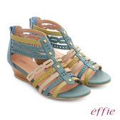effie 嬉皮假期 小坡跟彩色羅馬楔型涼鞋 湖水藍