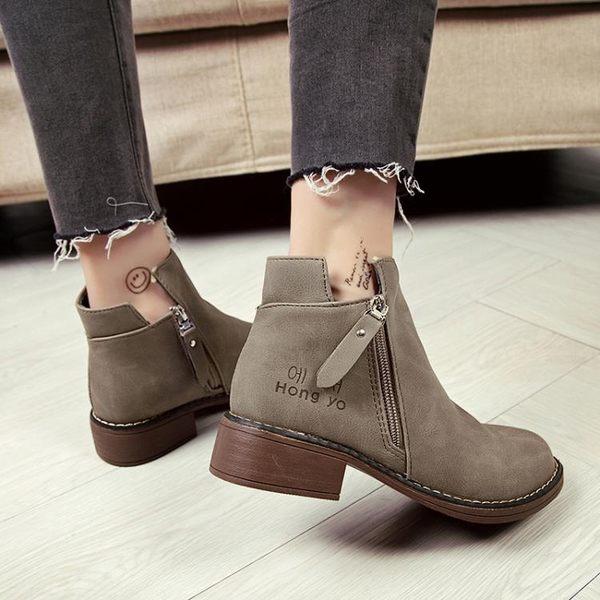 靴子 chic馬丁靴女英倫風小跟短靴及裸靴子女2019新款學生女靴春秋單靴 麻吉部落