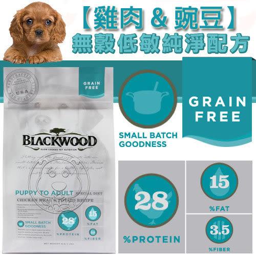 【zoo寵物商城】BLACKWOOD 柏萊富《全犬│雞肉&豌豆》無穀低敏純淨配方15LB/6.8kg