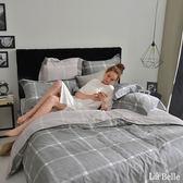 義大利La Belle《爵士風情》特大純棉防蹣抗菌吸濕排汗兩用被床包組