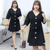 中大尺碼~撞色大鈕扣七分袖長袖連衣裙(XL~4XL)