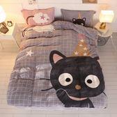 極柔加厚法蘭絨床包四件組-雙人-小黑貓【BUNNY LIFE 邦妮生活館】