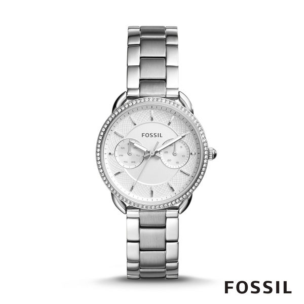 FOSSIL TAILOR 銀色鑲鑽多功能不鏽鋼女錶 35mm