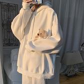 子俊男裝ins超火的衛衣男韓版潮流秋季可愛小熊帽衫純色套頭外套 怦然心動