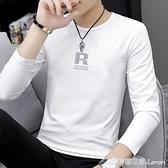 莫代爾長袖t恤男潮流秋季內搭打底衫白色印花上衣服秋冬小衫