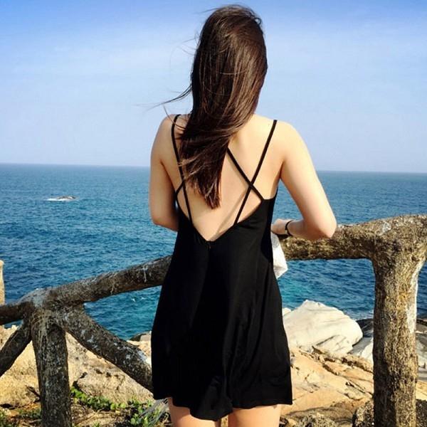 【現貨】梨卡 - 連身裙 [超性感+後背交叉] 日系VIVI甜心 - 沙灘裙連身裙露背背心裙連身短裙C6088