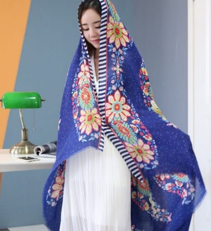 [協貿國際]  女士民族風超大冬季絲巾披肩圍巾 (1入)
