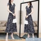 洋裝夏季新款v領碎花雪紡連身裙大碼收腰顯瘦氣質減齡長款長裙子 快速出貨