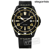 elegantsis / ELJT65-2G01LC / 潮流自由新騎士風格真皮手錶 黑色 47mm