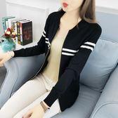 針織衫女裝秋款正韓學生針織外套短款長袖修身棒球服夾克開衫 巴黎時尚
