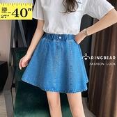 A字裙--修長美腿鬆緊褲頭鈕扣裝飾十片拼接A字牛仔短裙(藍M-5L)-Q124眼圈熊中大尺碼◎
