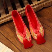 新娘婚鞋手工繡花婚鞋紅色秀禾鞋子千層底中式平底跟布鞋女5款可選【萬聖節88折