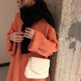 秋冬毛毛包包女新款韓版百搭毛毛絨側背素色包鍊條學生小挎包 降價兩天
