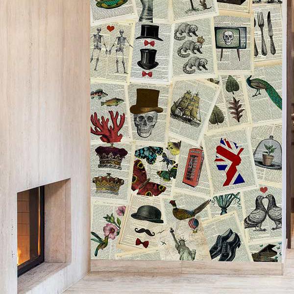 【進口牆紙】 1Wall 【訂貨單位220cm×300cm /套(一套六十四張壁板)】 英國 壁畫C64P-PAGES-001