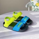 《7+1童鞋》ADIDAS ADILETTE SANDAL K 繽紛童趣 撞色運動涼鞋 7452 綠色