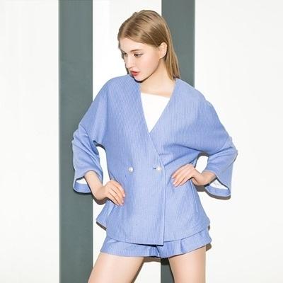 喇叭袖長袖上衣+短褲(兩件套)-歐美時尚純色寬鬆女褲裝73lk54【巴黎精品】