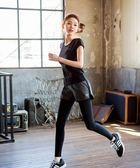 瑜伽服套裝女 上衣健身房運動速干跑步假兩件褲胖mm大碼顯瘦