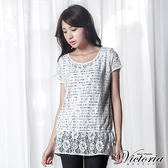 Victoria 假兩件式刺繡蕾絲寬鬆短袖T-女-白色