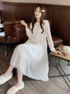 連衣裙 長袖洋裝秋季白色雪紡連衣裙長袖2020新款中長款a字裙純色皺紋早秋打底裙【快速出貨】
