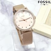 FOSSIL NEELY 系列 赫本麗人行優雅米蘭女錶 不鏽鋼錶殼錶帶 金色x淡粉紅 ES4364【時間玩家】