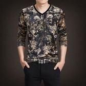 韓版 男士印花體恤衫金絲絨打底衫中國風v領動物圖案流行長袖潮搭T恤男 韓先生