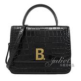 茱麗葉精品【全新現貨】BALENCIAGA 巴黎世家 644205金屬B LOGO鱷魚紋手提兩用包.黑