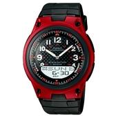 【CASIO】10年電力商務型男膠帶雙顯錶-紅框(AW-80-4B)
