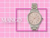 【時間道】MANGO休閒時尚數字刻度仕女腕錶 / 粉紅面鋼帶 (MA6669L-10)免運費
