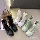 高筒網紗涼靴薄款2020年新款歐洲站夏季女鞋厚底鏤空馬丁靴涼鞋女  一米陽光