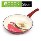 【樂扣樂扣】E-COOK白陶瓷粉彩不沾平底鍋-28cm(紅色*LEC2283R)