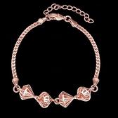 手鍊 玫瑰金純銀 鑲鑽-縷空水鑽生日情人節禮物女手環2色73bs14【時尚巴黎】