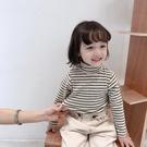 兒童高領條紋秋冬款百搭打底衫女童休閒加絨加厚長袖T恤寶寶上衣  【端午節特惠】