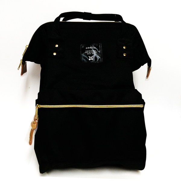 日本正版 anello 超大容量雙肩休閒後背包 媽媽包 帆布款(黑色)-超級BABY