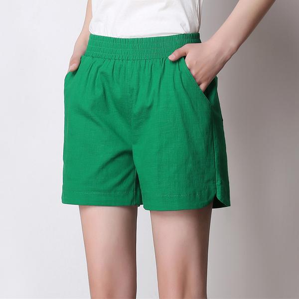 高腰棉麻短褲女 亞麻鬆緊腰休閒五分褲 大碼闊腿短褲 8色