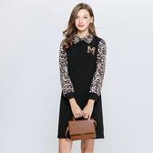 中大尺碼~氣質翻領豹紋拼接長袖連衣裙(L~5XL)