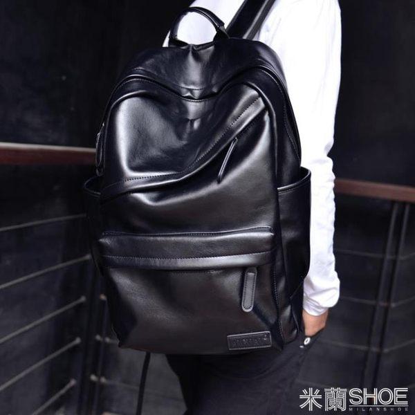 後背包 休閑男士背包正韓大學生書包男旅行電腦男包PU時尚流皮質