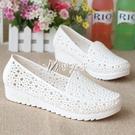 洞洞鞋 超軟白色涼鞋鏤空鳥巢洞洞鞋夏季平底防滑護士鞋涼鞋媽媽鞋工作鞋