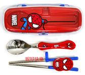 *妮好快樂*韓國直送_蜘蛛人兒童不鏽鋼學習筷及湯匙組盒裝