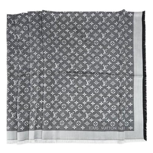 Louis Vuitton LV M71378 Monogram Denim 經典花紋羊毛絲綢披肩圍巾.黑 全新 預購【茱麗葉精品】