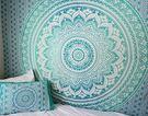 印度綠色mandala掛布壁掛沙發背景布曼陀羅可做桌布窗簾ins 【好康八九折】