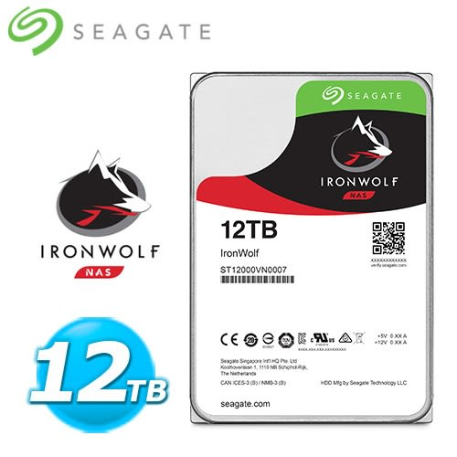 Seagate 那嘶狼【IronWolf】12TB 3.5吋 NAS硬碟 (ST12000VN0007)