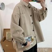 夾克外套港風春秋韓版工裝外套男ins寬松潮牌潮流學生日系原宿bf純色夾克