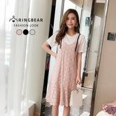蕾絲洋裝--氣質圓領棉質細肩帶蕾絲魚尾裙兩件式洋裝(黑.粉.藍L-3L)-D479眼圈熊中大尺碼