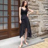 連身裙女夏新款韓版女裝波點蕾絲邊V領吊帶裙假兩件不規則中長裙 時尚芭莎