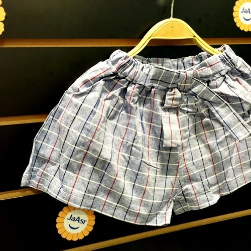 ☆棒棒糖童裝☆夏女童鬆緊腰藍色小格紋蝴蝶結平織短褲 5-15