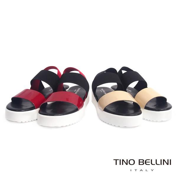Tino Bellini 義大利進口亮彩皮革繃帶厚底涼鞋(膚+黑)_A63077  2016SS歐洲進口款
